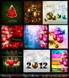 Amazing Collection of Christmas Flyers. 9 stunning background for Seasonal Greetings Royalty Free Stock Photos