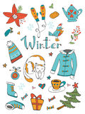 Amazing collection of hand drawn winter related Stock Image
