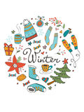 Amazing collection of hand drawn winter related Royalty Free Stock Photos