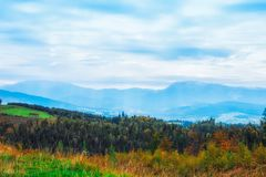 Amazing color of autumn iin the Ukrainian mountins royalty free stock image