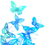 Amazing colorful background with butterflies,  watercolors Stock Images