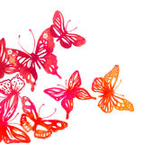 Amazing colorful background with butterflies,  watercolors (vect Stock Photo