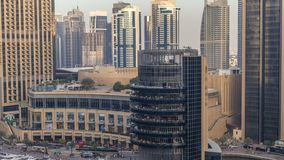 Amazing colorful dubai marina skyline during sunset timelapse. Great perspective of multiple tallest skyscrapers of the world. Sunlight over buildings. United stock footage