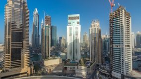 Amazing colorful dubai marina skyline during sunset timelapse. Great perspective of multiple tallest skyscrapers of the world. Sunlight over buildings. United stock video