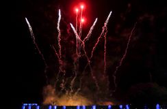 Amazing colorful fireworks at Independence Day above City Hall of Beer-Sheva. On left side written 'Beer-Sheva ' in hebrew letter royalty free stock images