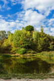 Amazing colorful landscape with lake and park in lviv Royalty Free Stock Photography