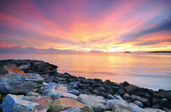 Amazing colorful Sunset in Borneo. Rays of colorful sunset in kota kinabalu sabah stock photos