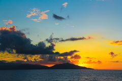 Amazing colorful sunset on the exotic island of Stock Photography