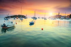 Amazing colorful sunset with Rovinj harbor, Istria region, Croatia, Europe Royalty Free Stock Photography
