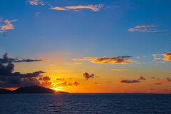 Amazing colorful sunset in Seychelles Stock Photo