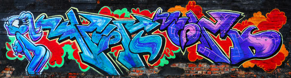 Amazing colorful urban graffiti Royalty Free Stock Photo