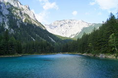 Amazing colors. Grüner See (Green Lake) is a lake in Styria, Austria near the town of Trag Stock Image