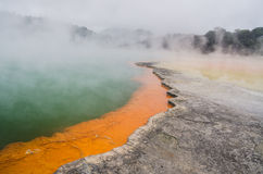 Amazing colors of New Zealand volcanic lake Stock Photography
