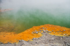 Amazing colors of New Zealand volcanic lake Stock Photos