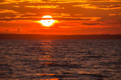 Amazing colors of sunset on the White sea. Royalty Free Stock Photo