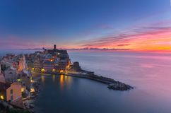 Amazing colors at sunset on a winter Vernazza. 5 lands royalty free stock photo