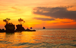 Amazing colors of tropical sunset. Boracay island, Philippines Stock Photo