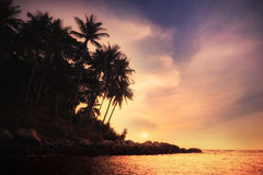 Amazing colors of tropical sunset. Thailand Stock Photography