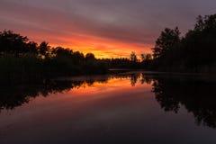 Amazing coloured sunset in Waterschei near Genk, Belgium stock photo