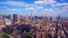 Amazing colourful 4k aerial shot of New York NYC, beautiful modern urban architecture skyline, high mirror skyscrapers. Amazing colourful aerial shot of New York stock footage
