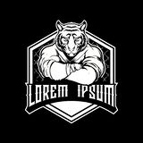 Amazing and Cool Black and White Tiger Cartoon Character martial arts athlete MMA logo template stock illustration