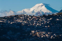 Amazing Cotopaxi volcano behind Quito city Royalty Free Stock Photos