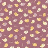 Amazing cute seamless vintage colorful bird pattern Stock Images
