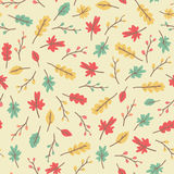 Amazing cute seamless vintage colorful leaves pattern Royalty Free Stock Photo