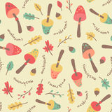 Amazing cute seamless vintage colorful mushroom leaves pattern Royalty Free Stock Images