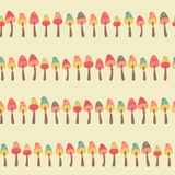 Amazing cute seamless vintage colorful mushroom pattern Royalty Free Stock Photography