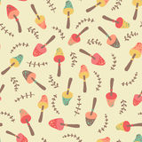 Amazing cute seamless vintage colorful mushroom pattern Royalty Free Stock Image