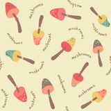 Amazing cute seamless vintage colorful mushroom pattern Royalty Free Stock Images