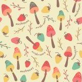 Amazing cute seamless vintage colorful mushrooms strawberry pattern Stock Photos