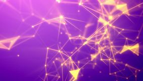 Flight through the abstract violet network. Amazing 3d illustration of a blurred hi-tech Internet based cyberspace with numerous shining yellow connections royalty free illustration
