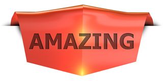 Banner amazing. Amazing 3D rendered red banner , isolated on white background Stock Photo