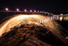 Tromso light painting sparks spinning Norway Royalty Free Stock Photography