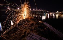 Tromso light painting sparks spinning Norway Stock Images
