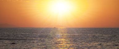Amazing dawn background with ship Royalty Free Stock Photos