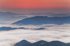 Amazing dawn sky over the  mountains Royalty Free Stock Photography