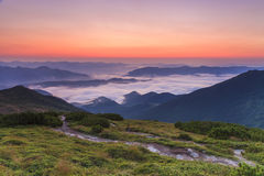 Amazing dawn sky over the  mountains Royalty Free Stock Images