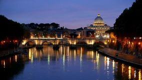 Amazing Day to Night Time Lapse in the City of Rome with a view over Vatican and St Peters Basilica stock video footage