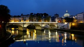 Amazing Day To Night Time lapse shot of River Tiber and Vatican in Rome. Videoclip stock video