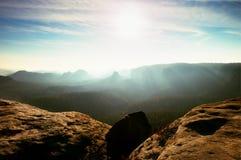 Amazing  daybreak in Saxony Switzerland park. Sandstone peaks increased from fog Royalty Free Stock Photos