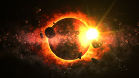 Amazing Dead Planet. 3D Virtual Planet rendered with Attacking Asteroids Stock Photography