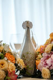 Amazing decoration of table. Beautiful restaurant interior table decoration for wedding. Flower Wedding Table Decoration royalty free stock image