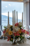 Amazing decoration of table. Beautiful restaurant interior table decoration for wedding. Flower Wedding Table Decoration royalty free stock photography