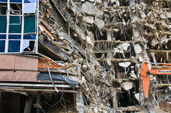 Amazing demolition series. Incredible building demolition project - part of series Stock Image