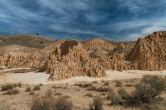Amazing desert view of the bentonite clay formations in Cathedral Gorge State Park in Nevada. USA royalty free stock photography