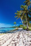 Amazing deserted tropical beach on south side of Samoa Island wi Royalty Free Stock Photos