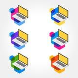 3d Isometric Laptop Icon Sets vector illustration